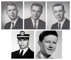 Clockwise: SGT Daniel J. Sandsted, SSG Robert G. Hansen, PFC James W. Fous, MAJ Kevin O'Brien, and LT William M. Roark.