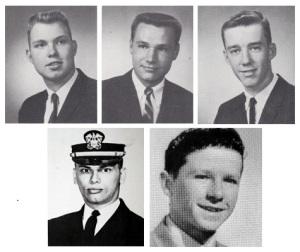 Clockwise: SGT Daniel J. Sandsted, SSG Robert G. Hansen, PFC James W. Fous, MAJ Kevin O'Brien, and LT William M. Roark.