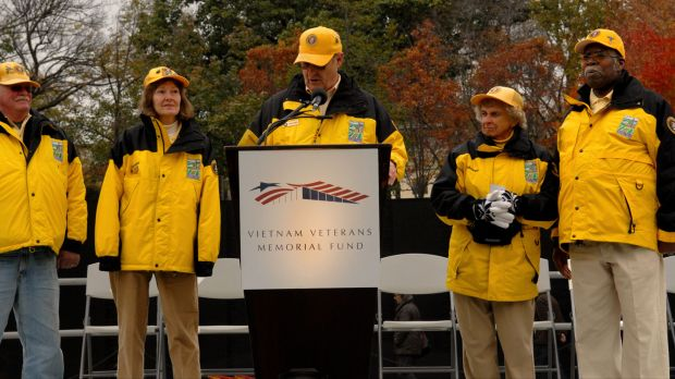 Anthony Wallace stands on the far right at a Veterans Day ceremony.