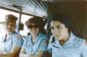Mary Ellen Supak, Glenda Allen, and Lois Hartvigson in a chopper