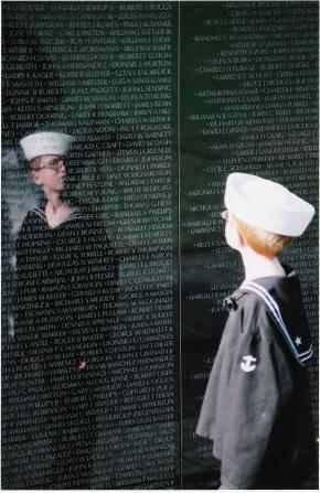 A-66 Boy in sailor suit w reflection Arant