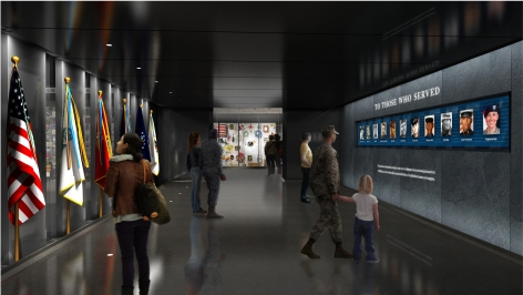 "Rendering of the ""Legacy of Service"" exhibit."