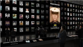 "Rendering of ""Making the Names Visible"" exhibit."