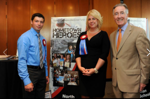 From left to right: 8th grader Nicholas Barber, Reading teacher Heather Daponde and Congressman Richard Neal (D-MA) at VVMF's Hometown Heroes launch event.