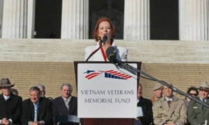 Former Australian Prime Minister Julia Gillard announces $3 million dollar gift to help build the Education Center at The Wall, 2010.