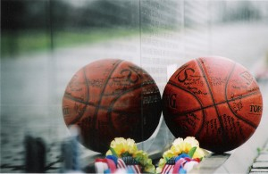 Basketball left at Wall Arant