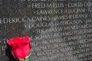 A rose is placed next to Ferguson's name on The Wall.  The diamond  next to his name denotes status of KIA.