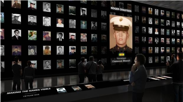 Rendering of Making the Names Visible Exhibit in the future Education Center. Photo/ Ralph Appelbaum Associates