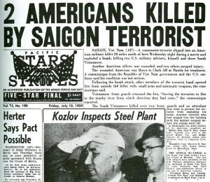 Headline of the newspaper Stars and Stripes on July 10, 1959.
