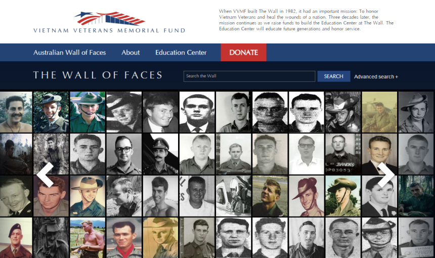 The Australian Wall of Faces shows the faces of the 521 killed in the Vietnam War.