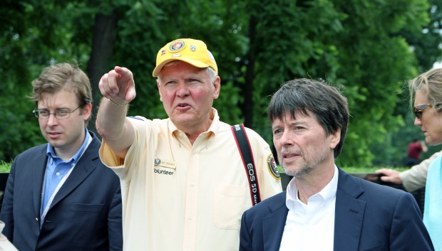 6-Bill Shugarts doing tour for Ken Burns & the Geoff Wiles VVMF group at Vietnam Memorial-June 19, 2013