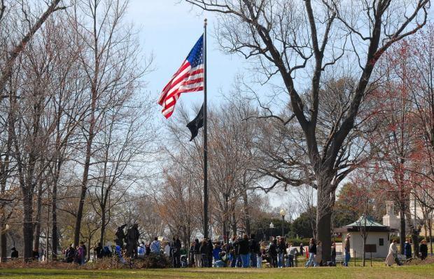 Flags at 3 Servicemen Statue - Bill Shugarts